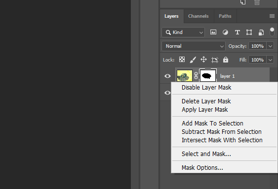 active layer mask- Why Your Eraser Tool Is Not Working in Photoshop