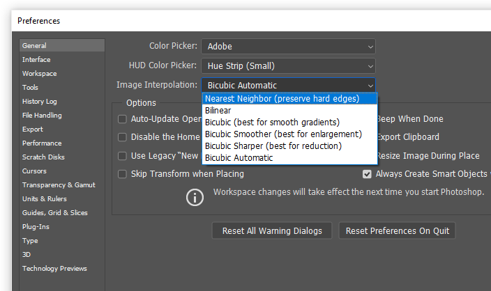 """Go to """"Preferences"""", click on """"General"""" and select the """"Image Interpolation"""". How to make Pixel Art in Photoshop"""