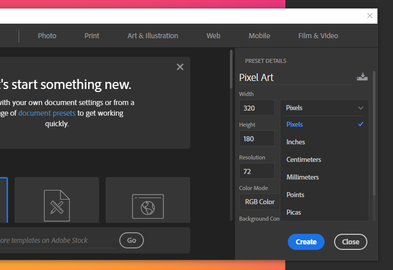 """go to """"File"""" then """"New"""" And name your Canvas. How to make Pixel Art in Photoshop"""